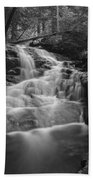 Vermont Forest Waterfall Black And White Beach Towel