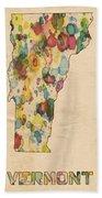 Vermont Map Vintage Watercolor Beach Towel