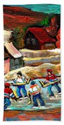 Vermont Pond Hockey Scene Beach Towel by Carole Spandau