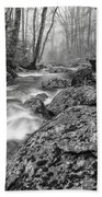 Vermont River Fog Mount Mansfield Black And White Beach Towel