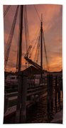 Vermont Sunrise Boats Pier Lake Champlain Beach Towel