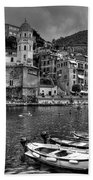Vernazza - Cinque Terre In Grey Beach Towel