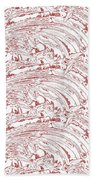 Vertical Panoramic Grunge Etching Burgundy Color Beach Towel