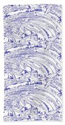 Vertical Panoramic Grunge Etching Royal Blue Color Beach Towel