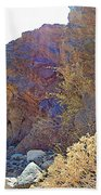 Vertical View Of Big Painted Canyon Trail In Mecca Hills-ca Beach Towel