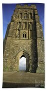 Vertical View Of Glastonbury Tor Beach Towel