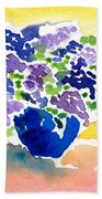 Vase With Lilas Flowers Beach Towel