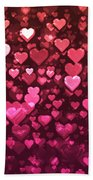 Vibrant Pink And Red Bokeh Hearts Beach Towel