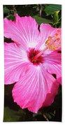 Vibrant Pink Hibiscus Beach Towel