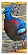 Victoria Crowned Pigeon In San Diego Zoo Safari In Escondido-california Beach Towel