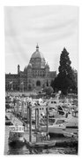 Victoria Harbour With Parliament Buildings - Black And White Beach Towel