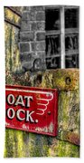 Victorian Boat Dock Sign Beach Towel by Adrian Evans