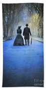 Victorian Couple In The Park At Dusk Beach Towel