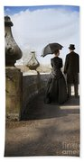 Victorian Couple Walking In The Grounds Beach Towel