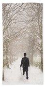 Victorian Gentleman In Snow Beach Towel