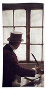 Victorian Man Writing With A Quill At His Desk Beach Towel