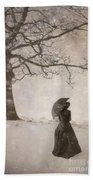 Victorian Woman In Snow Storm Beach Towel