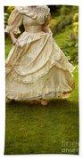 Victorian Woman Running On A Summer Lawn Beach Towel