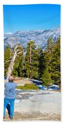 View From Near The Top Of Sentinel Dome In Yosemite Np-ca Beach Towel