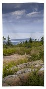 View From Top Of Cadilac Mountain In Acadia National Park Beach Towel