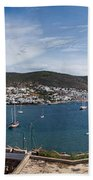 View Of A Harbor From A Castle, St Beach Towel