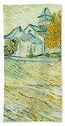 View Of Asylum And Saint-remy Chapel Beach Towel by Vincent van Gogh