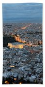 View Of Athens During Dawn Beach Towel
