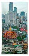 View Of Bangkok Buildings From Grand China Princess Hotel In Bangkok-thail Beach Towel