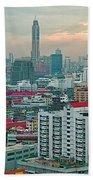 View Of Bangkok Near Dusk From Grand China Princess Hotel In Bangkok-thailand Beach Towel