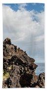 View Of Lava Rock On The Coast, Pico Beach Towel