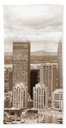 View Of Montreal In Sepia Beach Towel