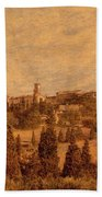 View Of Pienza And The Tuscan Landscape Beach Towel