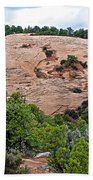 View Of Rock Dome Surface From Sandal Trail Across The Canyon In Navajo National Monument-arizona Beach Towel