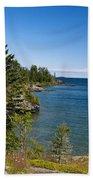 View Of Rock Harbor And Lake Superior Isle Royale National Park Beach Towel by Jason O Watson