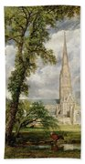 View Of Salisbury Cathedral From The Bishop's Grounds Beach Towel