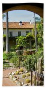 View Of Santa Barbara Mission Courtyard Beach Towel