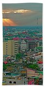View Of Sun Setting Over Bangkok Buildings From Grand China Princess Hotel In Bangkok-thailand Beach Towel