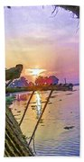 View Of Sunrise From A Houseboat Beach Towel
