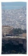 View Of The Acropolis From Lykavittos Hill Beach Towel