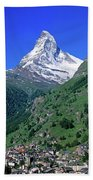 View Of The Matterhorn And The Town Beach Towel