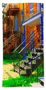 View Of Verdun Steps Stairs Staircases Winding Through Summer  Montrealstreet Scenes Carole Spandau Beach Towel