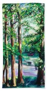 View Of Woodside Lake Beach Towel