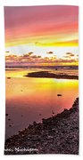 View Opposite Of Mackinac Bridge From Mcgulpin Point At Sunset. Beach Towel
