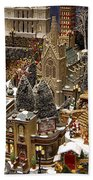 Village Christmas Scene Beach Towel