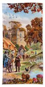 Village In Autumn Beach Towel