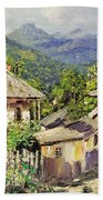Village Scene In The Mountains Beach Towel