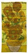 Vincent's Sunflower Song Beach Towel