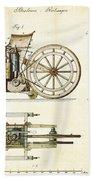 Vintage 1885 Daimler Reitwagen First Motorcycle Beach Towel by Nikki Marie Smith