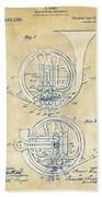 Vintage 1914 French Horn Patent Artwork Beach Towel