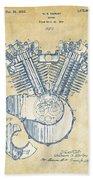 Vintage 1923 Harley Engine Patent Artwork Beach Towel